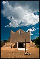 Adobe church and clouds, Picuris Pueblo. New Mexico, USA (color)