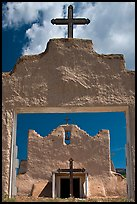 San Lorenzo Church seen through adobe walls, Picuris Pueblo. New Mexico, USA (color)