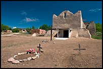 Graves and Picuris Church, Picuris Pueblo. New Mexico, USA
