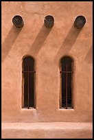 Vigas and deep windows in pueblo style, Sanctuario de Chimayo. New Mexico, USA (color)