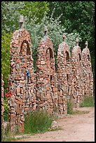 Row of crosses, Sanctuario de Chimayo. New Mexico, USA