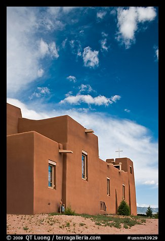 Modern church in adobe style. New Mexico, USA (color)