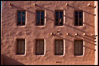 Detail of architecture in pueblo style, American Indian art museum. Santa Fe, New Mexico, USA