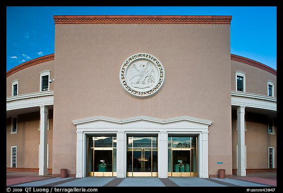 West entrance of New state Mexico Capitol. Santa Fe, New Mexico, USA