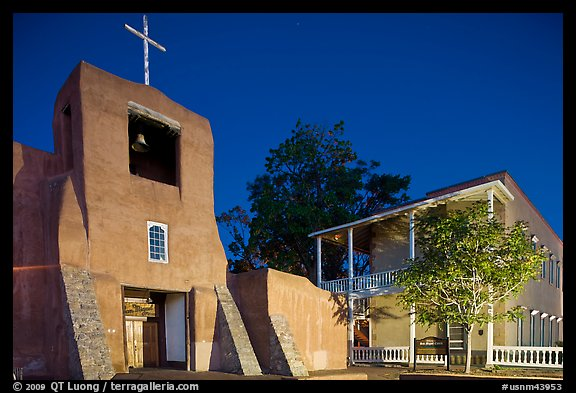 Church of San Miguel by night. Santa Fe, New Mexico, USA