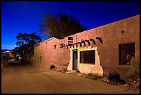 Street in Bario de Analco by night. Santa Fe, New Mexico, USA (color)