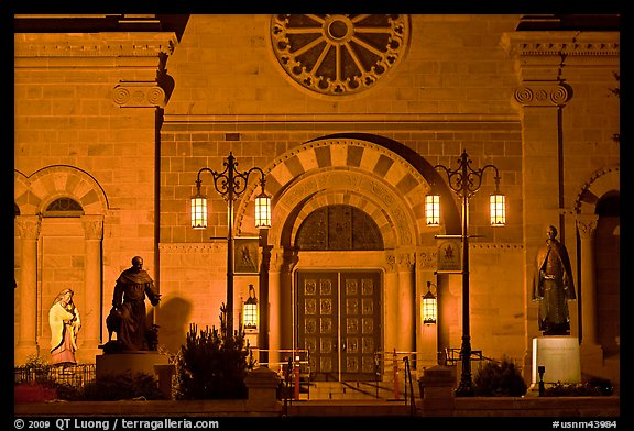 St Francis Cathedral by night. Santa Fe, New Mexico, USA (color)