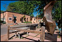 Modern sculpture and galleries on Canyon Road. Santa Fe, New Mexico, USA (color)