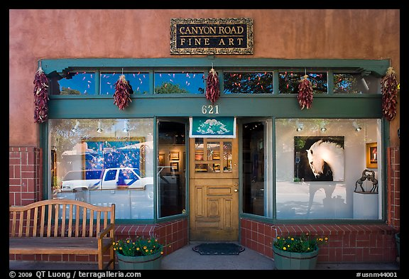 Canyon Road fine art gallery storefront,. Santa Fe, New Mexico, USA