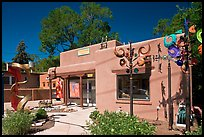 Art gallery and modern sculptures. Santa Fe, New Mexico, USA (color)
