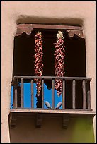 Ristras hanging from tower. Santa Fe, New Mexico, USA (color)