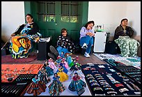 Native american women selling crafts. Santa Fe, New Mexico, USA