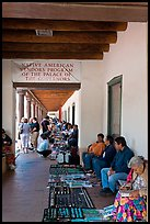 Native americans selling arts and crafts. Santa Fe, New Mexico, USA