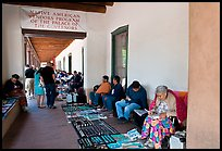 Native americans selling in front of the Palace of the Governors. Santa Fe, New Mexico, USA