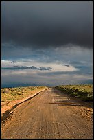 Dirt road under storm clouds. New Mexico, USA ( color)