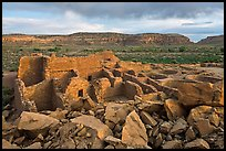 Great house, Pueblo Bonito. Chaco Culture National Historic Park, New Mexico, USA (color)