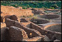Rooms and kivas, Pueblo Bonito. Chaco Culture National Historic Park, New Mexico, USA (color)