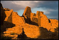 Walls at sunset, Pueblo Bonito. Chaco Culture National Historic Park, New Mexico, USA ( color)