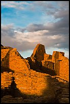 Last light on ruined walls, Pueblo Bonito. Chaco Culture National Historic Park, New Mexico, USA ( color)