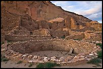 Kiva and multi-storied roomblocks, Pueblo Bonito. Chaco Culture National Historic Park, New Mexico, USA ( color)