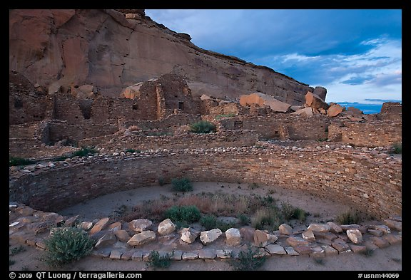 Pueblo Bonito at the foot of Chaco Canyon northern rim. Chaco Culture National Historic Park, New Mexico, USA