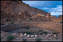 Pueblo Bonito at the foot of Chaco Canyon northern rim. Chaco Culture National Historic Park, New Mexico, USA ( color)