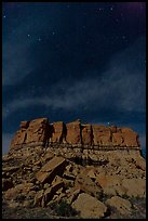 Stars over cliff. Chaco Culture National Historic Park, New Mexico, USA ( color)