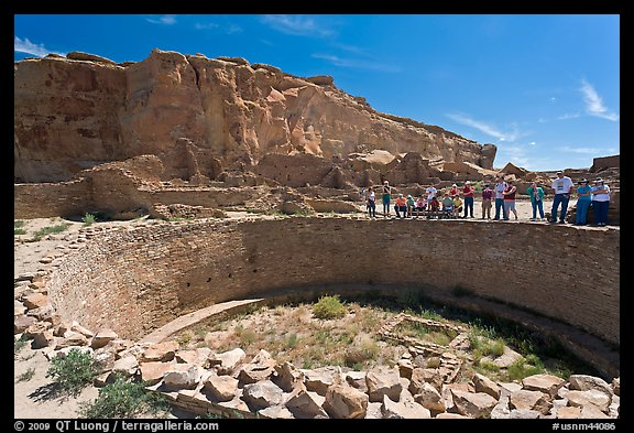 Tourists during a tour of Pueblo Bonito. Chaco Culture National Historic Park, New Mexico, USA