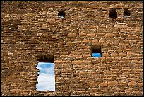 Masonery wall with openings. Chaco Culture National Historic Park, New Mexico, USA ( color)