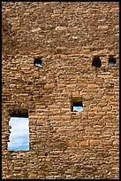 Sky seen from masonery wall windows. Chaco Culture National Historic Park, New Mexico, USA ( color)