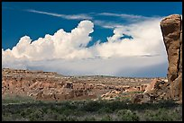 Pueblo Bonito, cliff, and clouds. Chaco Culture National Historic Park, New Mexico, USA ( color)