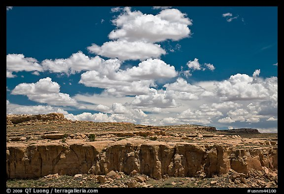 Cliff and clouds. Chaco Culture National Historic Park, New Mexico, USA (color)