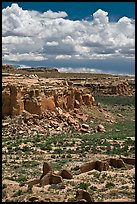 Chetro Ketl and cliffs. Chaco Culture National Historic Park, New Mexico, USA ( color)