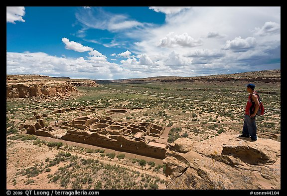 Man overlooking Chetro Ketl. Chaco Culture National Historic Park, New Mexico, USA (color)