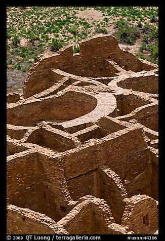 Rooms of Pueblo Bonito seen from above. Chaco Culture National Historic Park, New Mexico, USA