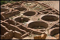Kivas and rooms of Pueblo Bonito seen from above. Chaco Culture National Historic Park, New Mexico, USA (color)