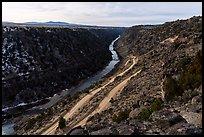 Rio Grande Gorge and road switchbacks. Rio Grande Del Norte National Monument, New Mexico, USA ( )