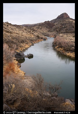 Rio Grande River in Lower Rio Grande River Gorge. Rio Grande Del Norte National Monument, New Mexico, USA (color)
