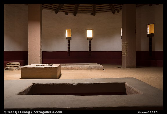 Great Kiva interiorcircular ceremonial chamber. Aztek Ruins National Monument, New Mexico, USA (color)