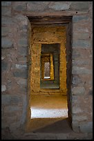 Passageway with doors, West Ruin. Aztek Ruins National Monument, New Mexico, USA ( color)