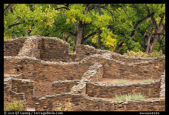 Masonery ruin walls. Aztek Ruins National Monument, New Mexico, USA (color)