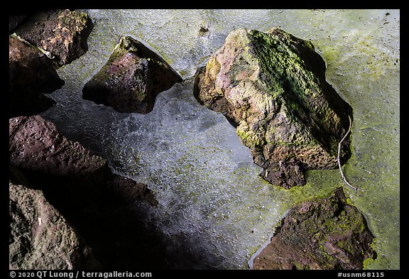 Detail of ice and rocks, Bandera Ice Cave. El Malpais National Monument, New Mexico, USA (color)