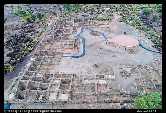 Aerial View of Puebloan-built ruins and reconstructed Great Kiva. Aztek Ruins National Monument, New Mexico, USA (color)