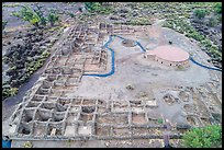 Aerial View of Puebloan-built ruins and reconstructed Great Kiva. Aztek Ruins National Monument, New Mexico, USA ( color)