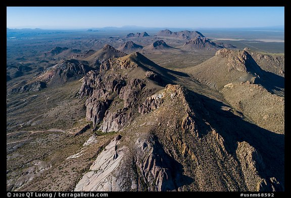 Aerial view of Dona Ana Peak. Organ Mountains Desert Peaks National Monument, New Mexico, USA (color)
