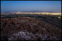 Las Cruces and Organ Mountains at night from Picacho Mountain. Organ Mountains Desert Peaks National Monument, New Mexico, USA ( color)