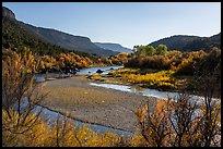 Rio Grande River with gravel bar and fall foliage, Orilla Verde. Rio Grande Del Norte National Monument, New Mexico, USA ( )