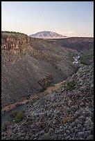 Upper Rio Grande Gorge and Ute Mountain. Rio Grande Del Norte National Monument, New Mexico, USA ( )