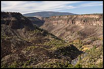 Gorge, cliffs, and shield volcano. Rio Grande Del Norte National Monument, New Mexico, USA ( )