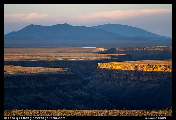 Gorge and Taos Valley before sunset. Rio Grande Del Norte National Monument, New Mexico, USA (color)